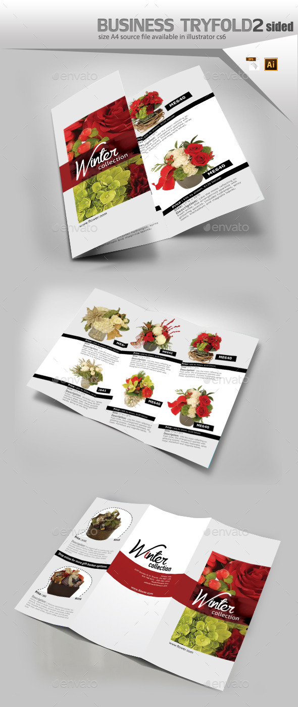 GraphicRiver Bouquet Of Flowers Brochure Template 9584487