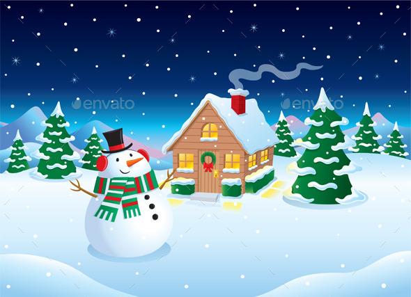 GraphicRiver Snowman and Cabin Winter Night Scene 9572492