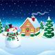 Snowman and Cabin Winter Night Scene - GraphicRiver Item for Sale