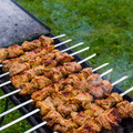 Grilled marinated caucasus barbecue meat shashlik