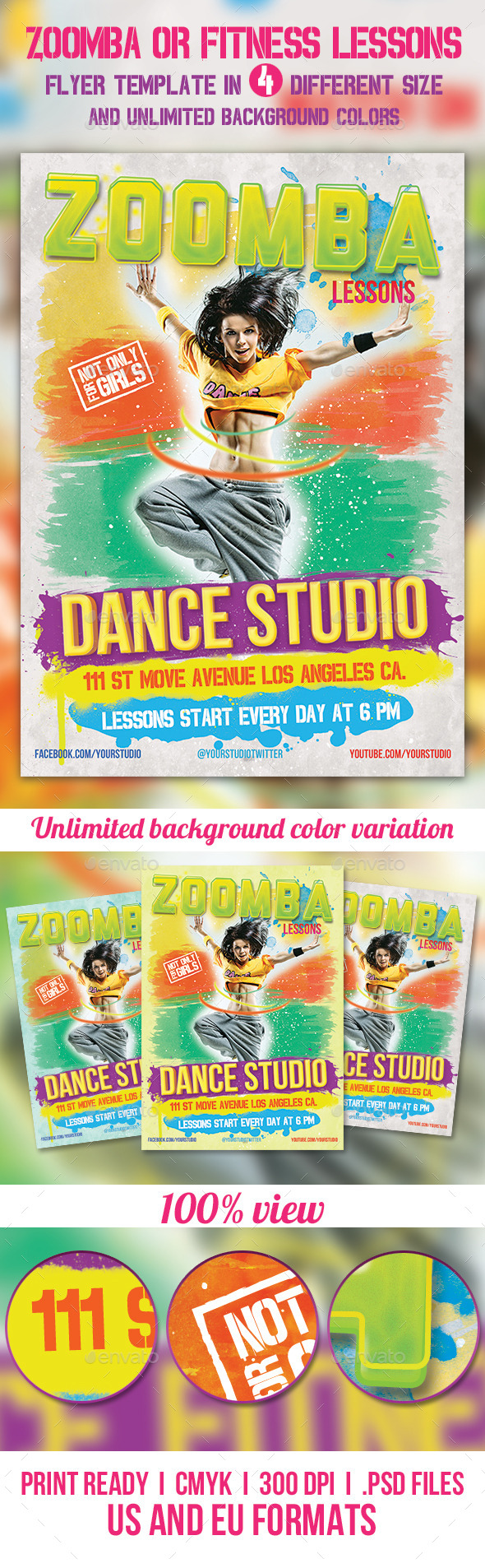 Zoomba or Fitness lessons flyer - Sports Events
