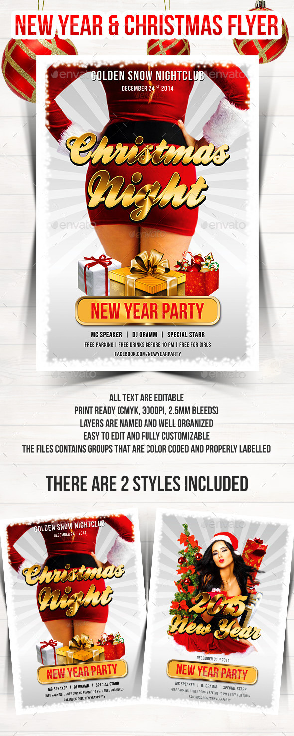 GraphicRiver Christmas & New Year Party Flyer 9585172