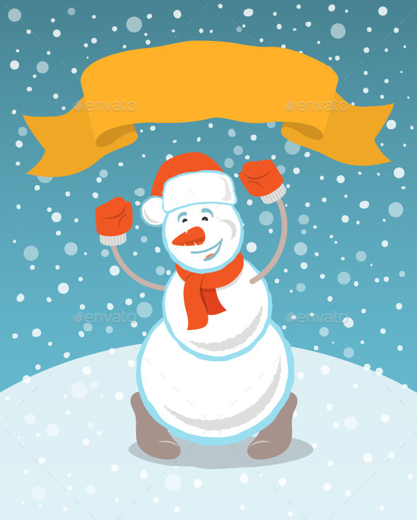 GraphicRiver Happy Snowman with a Ribbon 9585380