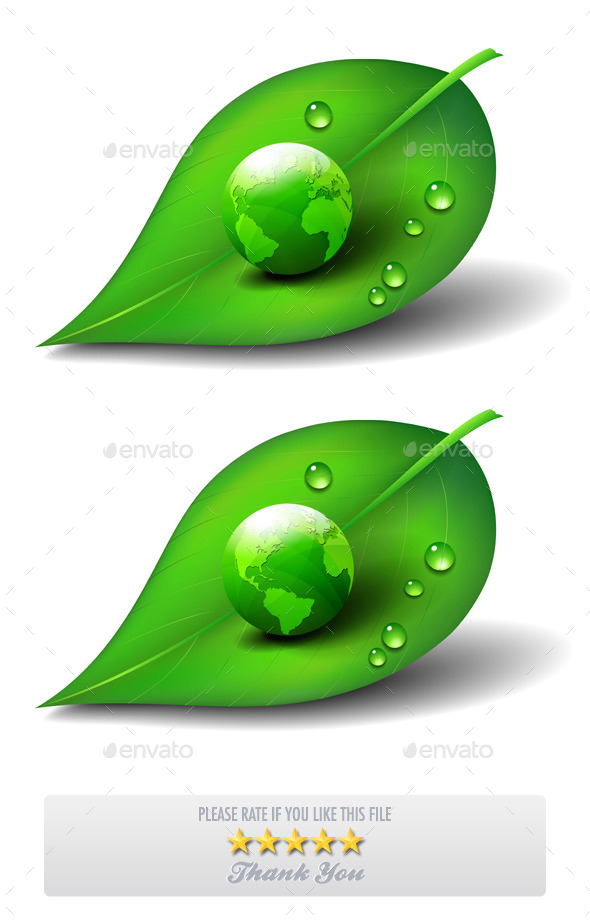 GraphicRiver Green Earth on Leaf Icon 9585493