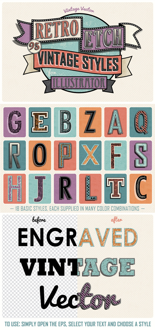 GraphicRiver Retro Etch Vintage Styles 9585583