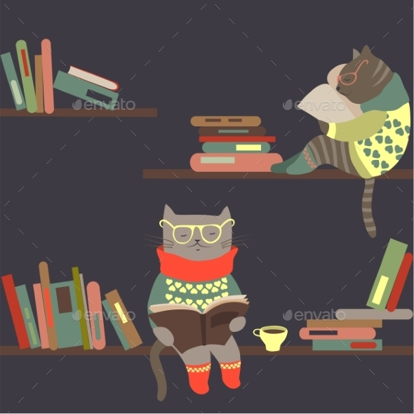 GraphicRiver Cats Reading Books on Bookshelves 9586425