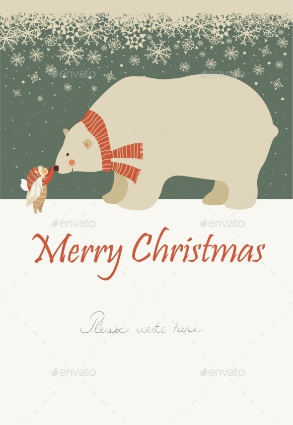 GraphicRiver Little Angel and Polar Bear Celebrating Christmas 9586559