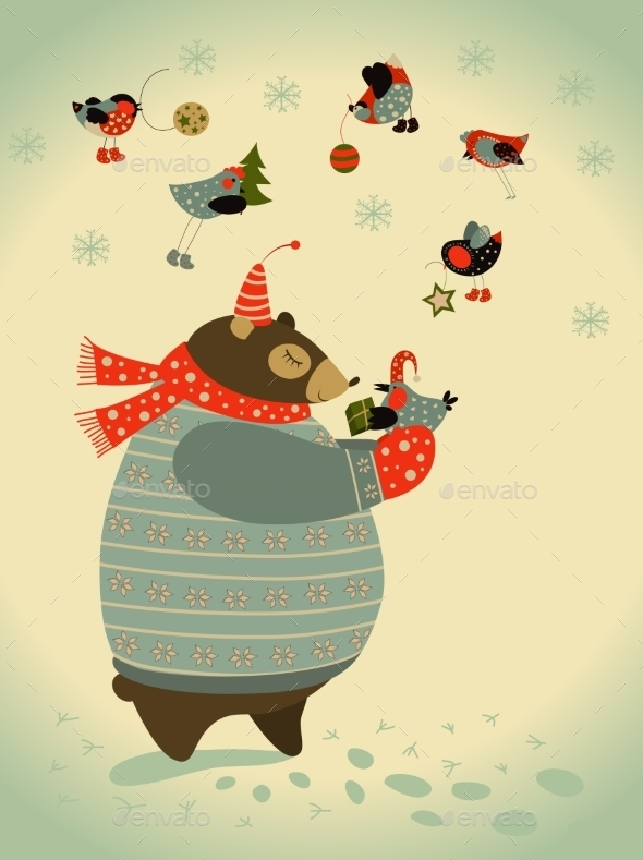 GraphicRiver Bear and Birds Celebrate Christmas 9586635