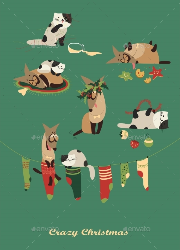 GraphicRiver Dog and Cat Celebrating Christmas 9586696