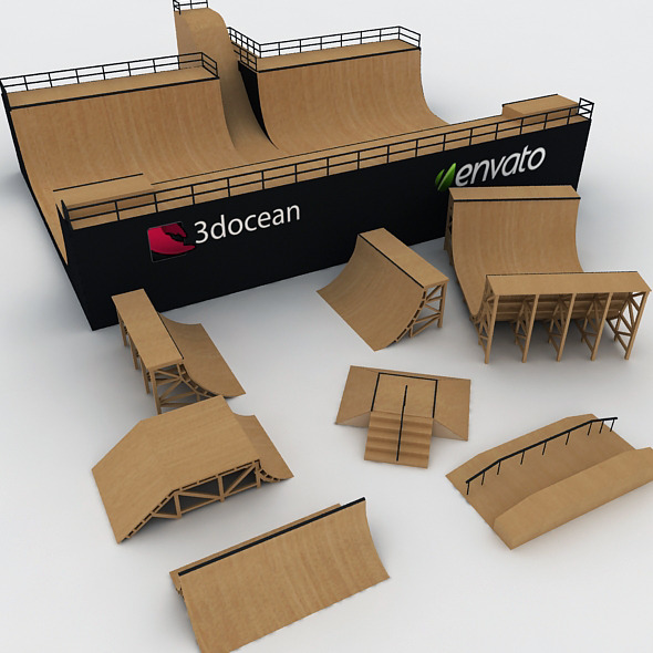 Mega Halfpipe Skate Park Bundle - 3DOcean Item for Sale