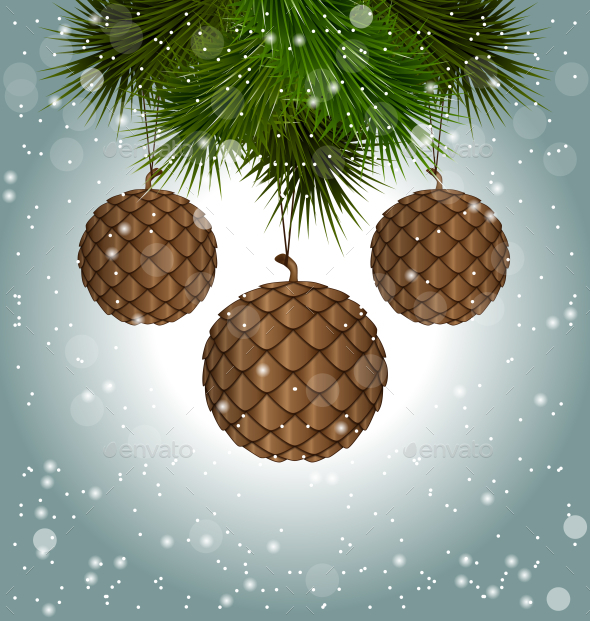 GraphicRiver Brown Cones like Christmas Balls 9586806