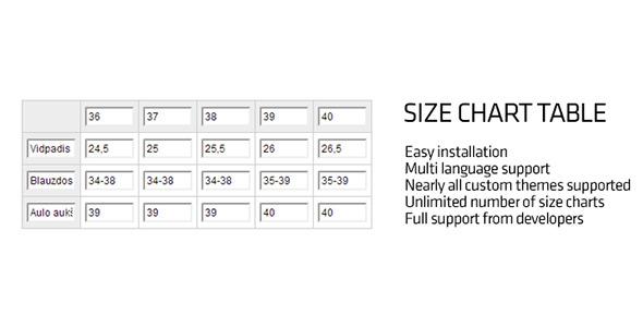 CodeCanyon OpenCart Size Chart Table 9349839