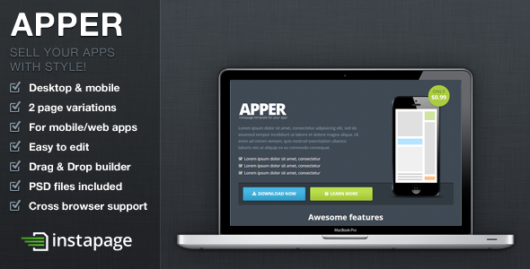 ThemeForest Apper Instapage App Presentation Template 9587431