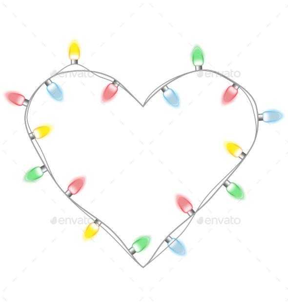 GraphicRiver Christmas Lights Heart 9587571