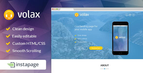 ThemeForest Volax Instapage Mobile App Landing Page 9587632