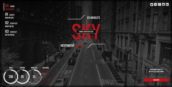 ThemeForest Sky Responsive Coming Soon Page 9587666
