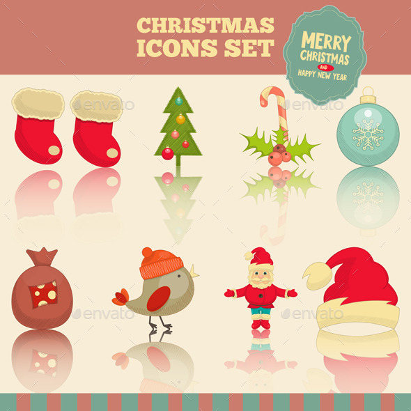 GraphicRiver Christmas Icons Set 9587879