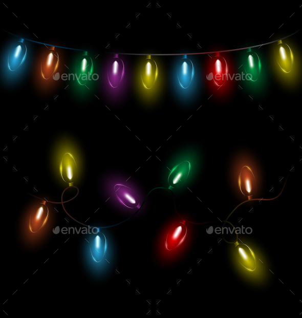 GraphicRiver Variations of Christmas Lights Garlands 9588010