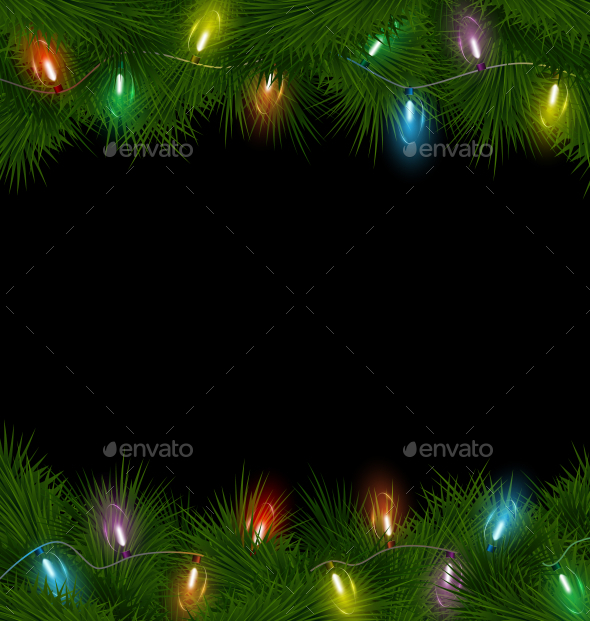GraphicRiver Multicolored Christmas Lights on Pine Branches 9588023