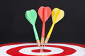 Closeup Of Darts On Target - PhotoDune Item for Sale