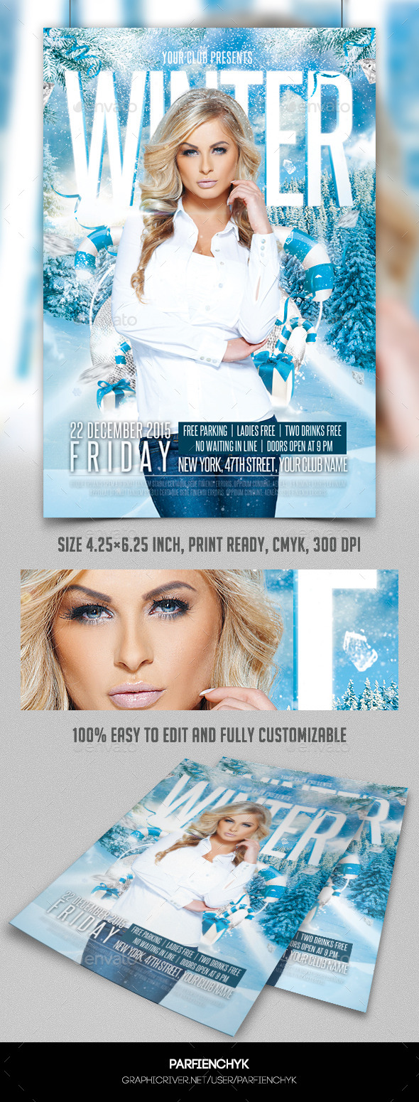 GraphicRiver Winter Party Flyer Template 9588099