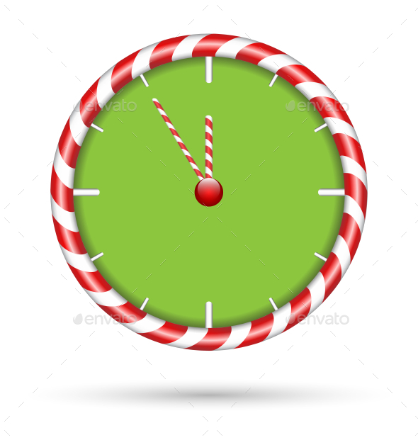 GraphicRiver Candy Cane Clock 9588331