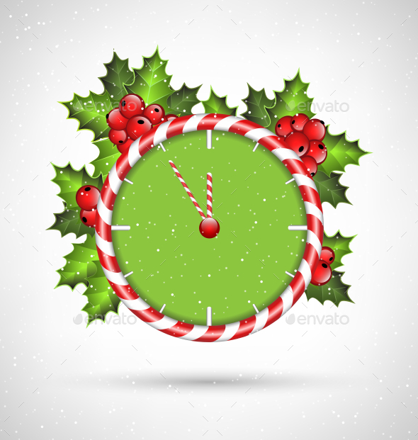 GraphicRiver Candy Cane Clock with Holly 9588335