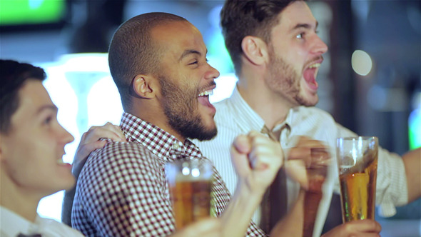 Men Shout And Rejoice In Meeting And Drink Beer