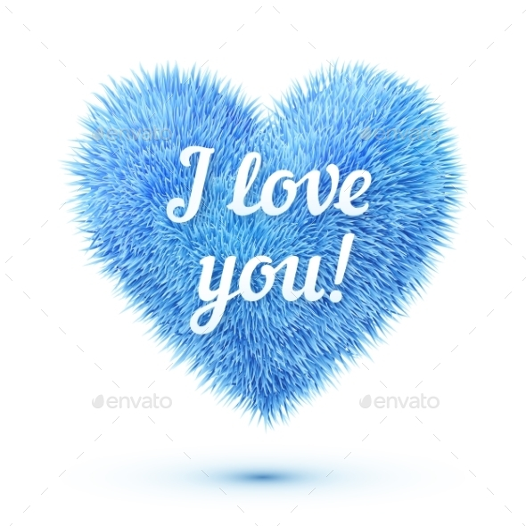 GraphicRiver Fluffy Heart with I Love You 9588477