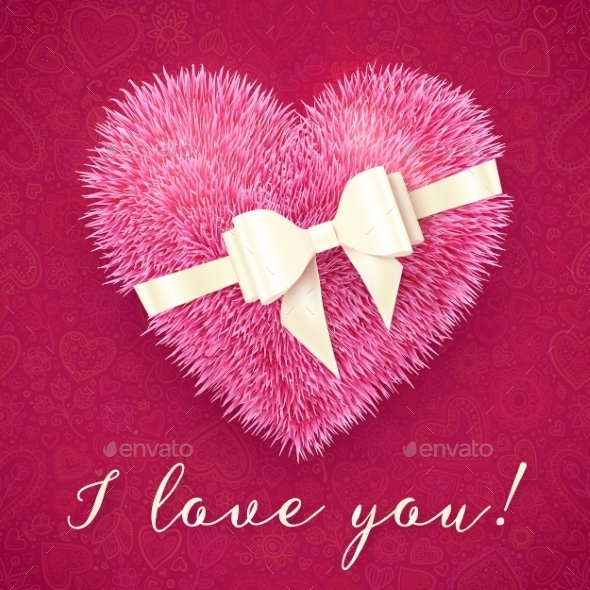 GraphicRiver Fluffy Heart with Bow 9588479