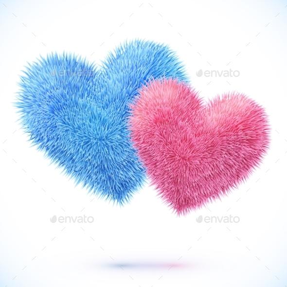 GraphicRiver Pair of Fluffy Hearts 9588486