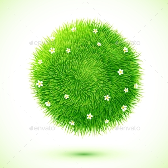 GraphicRiver Fluffy Grass Ball with Flowers 9588500