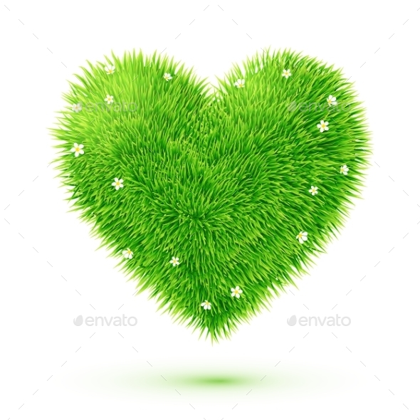 GraphicRiver Fluffy Grass Heart with Flowers 9588503