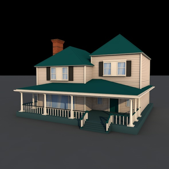 3DOcean american low-poly country house 9588890
