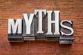 myths word in metal type - PhotoDune Item for Sale