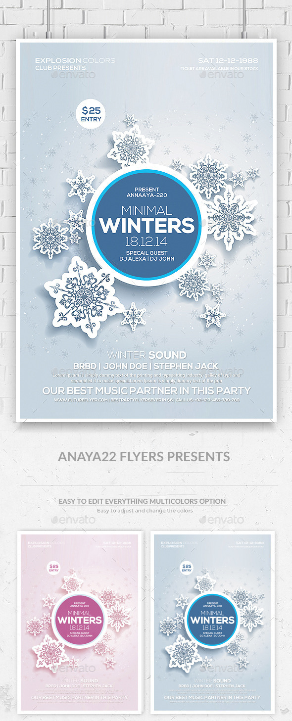 GraphicRiver Winter Sound Party Flyer Template 9589421