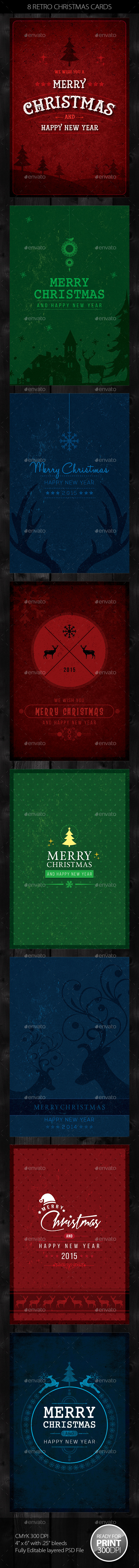 GraphicRiver 8 Retro Christmas Cards Invite 9589647