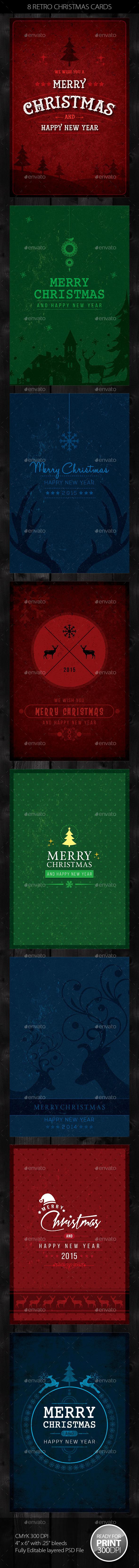 8 Retro Christmas Cards / Invite