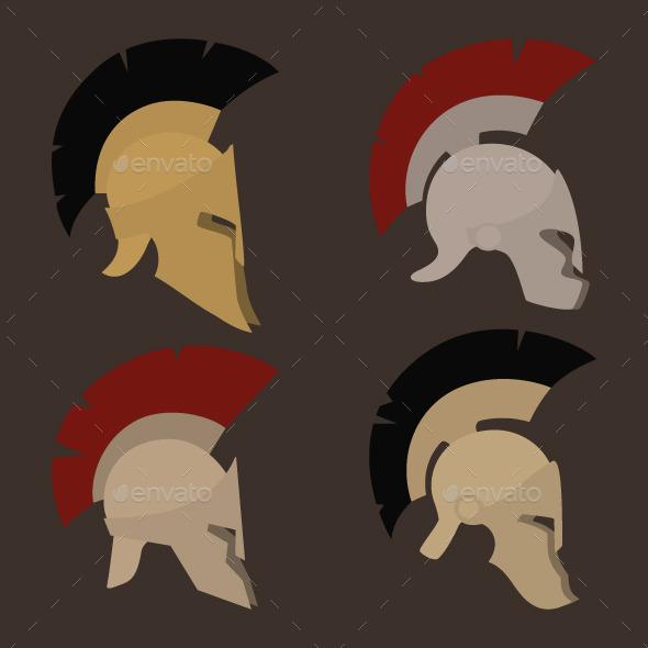 GraphicRiver Four Antique Helmets 9589966
