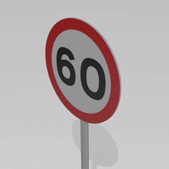 3DOcean 60 Speed limit sign 9590077
