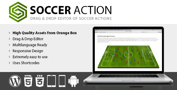 Soccer Action is a Drag & Drop editor of Soccer/Football actions and tactics based on The Soccer Set – Kicker Icons, Field and Elements, the high qual
