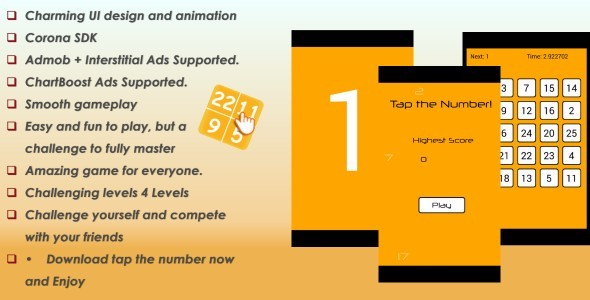 CodeCanyon Tap the Number & Admob & ChartBoost Ads 9591096