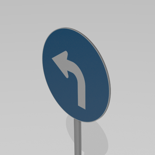 Turn left sign - 3DOcean Item for Sale