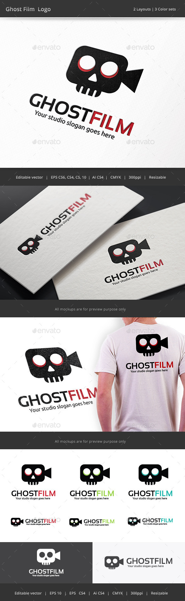 GraphicRiver Ghost Film Logo 9591603