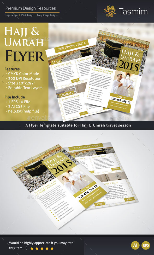 GraphicRiver Hajj 2015 Flyer Template Front & Back 9546159