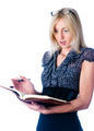Attractive young lady with diary was surprised over white background.. - PhotoDune Item for Sale