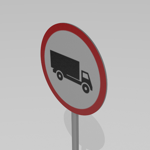 3DOcean Heavy vehicles prohibited sign 9592433