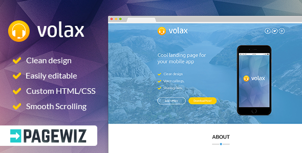 ThemeForest Volax Pagewiz Mobile App Landing Page 9593238
