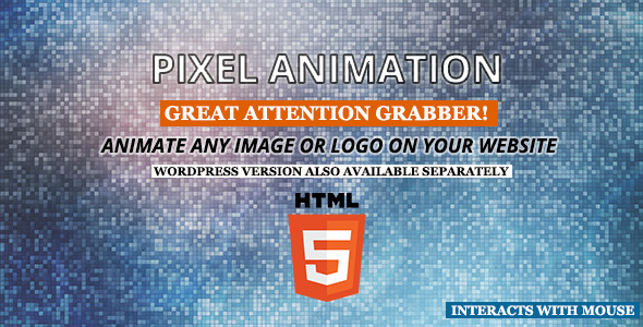 Pixel animation is a plugin which can animate any image on a post, page or a widget. It comes with a widget and a shortcode. It disintegrates the specified imag