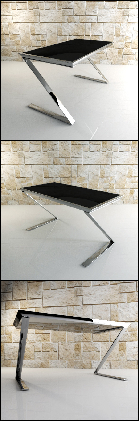 3DOcean Z Desk Black glass and chrome office desk 9593610